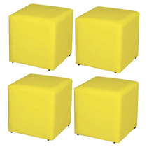 Kit 04 Puffs Quadrado Decorativo Quarto Sofá Corino Amarelo