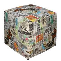 Puff Decorativo Tecido Jornal Sala Quarto Decoração 35x35x42