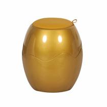 Banco Banqueta Tamborete Puff Baú Organizador Dourado