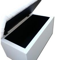 Para Cama Box Solteiro Peseira Puff Guarda Objetos 90cm