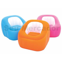 Poltrona Puff Cubo Inflável Rosa Laranja Decoração +inflador