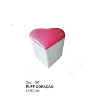 Puff Coração Branco Estofado Rosa De Ferro E Junco Sintetico