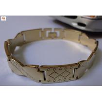 Bracelete, Pulseira Masculina, Aço Dourado Trabalhado
