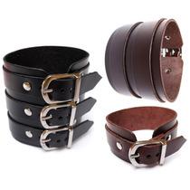 Bracelete / Pulseira - 1, 2 Ou 3 Fivelas Em Couro Legítimo