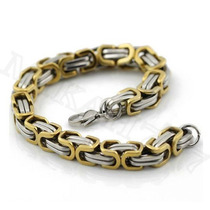 Pulseira/bracelete Masculina Aço Inox316l Cor:prata&ouro 8mm