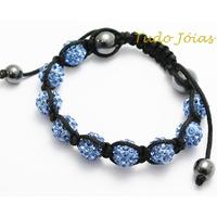 Pulseira Bracelete Shambala Cor Azul C Cristais Frete Gratis