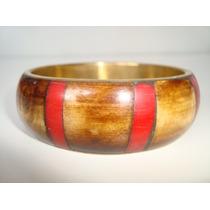 Pulseira Bracelete Indiano Índia Metal Dourado C/ Resina