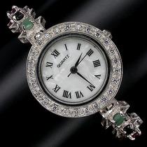 Relógio Em Prata 925 Com Rubi Esmeralda Safira E Madreperola