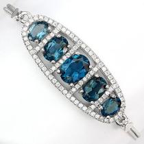 Pulseira Com Topázio Azul London Natural - Prata 925
