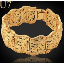 Pulseira Dourada Feminina Bracelete Banhado A Ouro 18 K