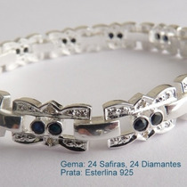 Pulseira Prata 925 Joia De Prata Com Safira E Diamante 7030.