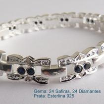 Bracelete Pulseira Prata 925, Safira E Diamante, Cód. 7030.