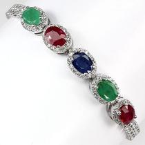 Pulseira Em Prata 925 Com Rubis Esmeraldas E Safira Naturais