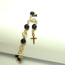 Pulseira Mini Terço Com Pedras E Crucifixo 00156001 Bijuslu