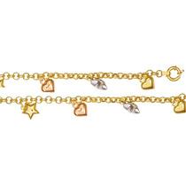 Pulseira De Ouro 18k 8,3 Gramas Berloques Cuore Stellato