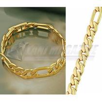 Pulseira Fígaro Luxo 10mm Banhada Ouro 18k- Ostentação