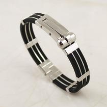 Pulseira Bracelete Masculina Algema Preta Aço 316l