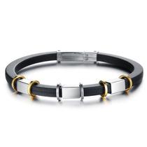 Pulseira Bracelete Masculina Preta Prata Detalhes Em Dourado