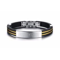 Linda Pulseira Bracelete Masculina Preta Dourada Aço 316l