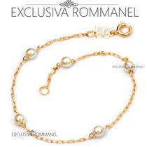 Rommanel Pulseira Feminina Perola Folheada Ouro 18k 550687