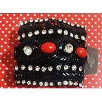 Bracelete Com Strass E Pedras Semi Preciosas Fecho Com Imã