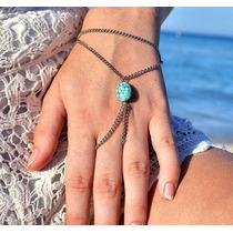 Anel Pulseira Hand Chain Indiana Com Pedra Howlita Turquesa