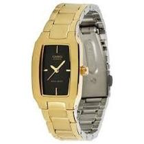 Relógio Casio Feminino Ltp1165 Dourado/preto Todo Em Aço Lw