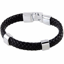 Pulseira Masculina Bracelete Couro Legítimo Preto + Aço Inox