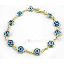 Pulseira Folheado Ouro 18k C/ Olho Grego Azul Claro Turco