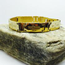 Pulseira Masculina Banhada A Ouro 18k, Bracelete Masculino