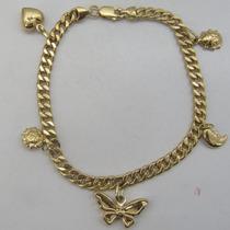 Oferta! 8747 Pulseira 19 Cm De Ouro 18k 750 Com Berloques Y