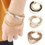 Pulseira Bracelete Traçada Luxo Fashion Moda Feminina