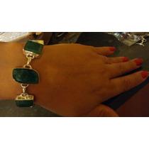 Pulseira De Prata 925 Pedras Naturais Esmeraldas