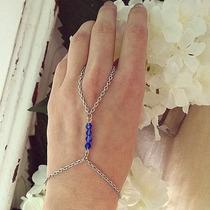 Anel Pulseira Hand Chain Cristais Indiana Boho Prateada