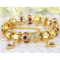 Pulseira Pandora Vivara Banhada Ouro 18 Completa Com Beads