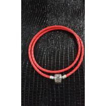 Pulseira Pandora Couro Prata 925 Cor Vermelha 19 Cm 2 Volta