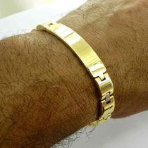 Pulseira Masculina 18cm 1cm Largura Folheada Ouro Pl356