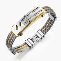 Bracelete Masculino Aço Inox 316l Banh. Ouro 18k + Zircônias
