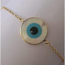 Pulseira Em Ouro 18k Com Olho Turco/ Grego Em Madre Pérola