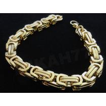 Bracelete/pulseira Masculina Aço Inox Banhada Ouro 8mm