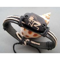 Pulseira Bracelete Tribal De Couro Hemp Surfer