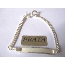 Pulseira Infantil Prata 925 12cm Com Placa P/ Gravar O Nome.