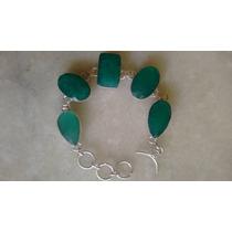 Pulseira Feminina Prata 925 Pedras Naturais Esmeraldas