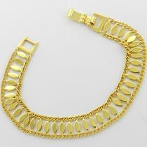 Pulseira Feminina 18cm 1cm Largura Folheada Ouro Pl361