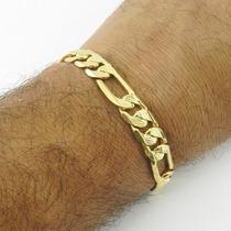 Pulseira Masculina 18cm 1cm Largura Folheado Ouro Pl370
