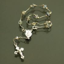 Pulseira Terço Em Prata 925 Com Cristais Swarovski Feminina