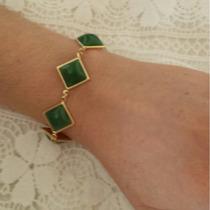 Pulseira Feminina Pedras Verdes. Folheada Em Ouro 18k