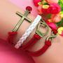 Pulseira Bracelete De Couro Algema Cruz Infinito