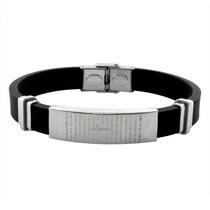 Pulseira Bracelete Masculino Pai Nosso Silicone E Aço Inox