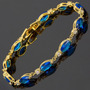 Pulseira Safira Azul Diamante Folheada Ouro 18k
